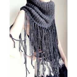 Замечательная идея - вязаный шарф-труба (снуд) с бахромой (все картинки...