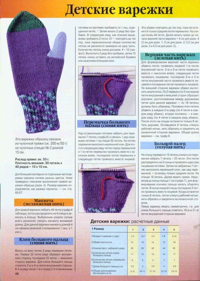 При вязании варежек и перчаток