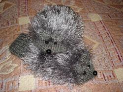 Варежки-мышки, связанные Аллой