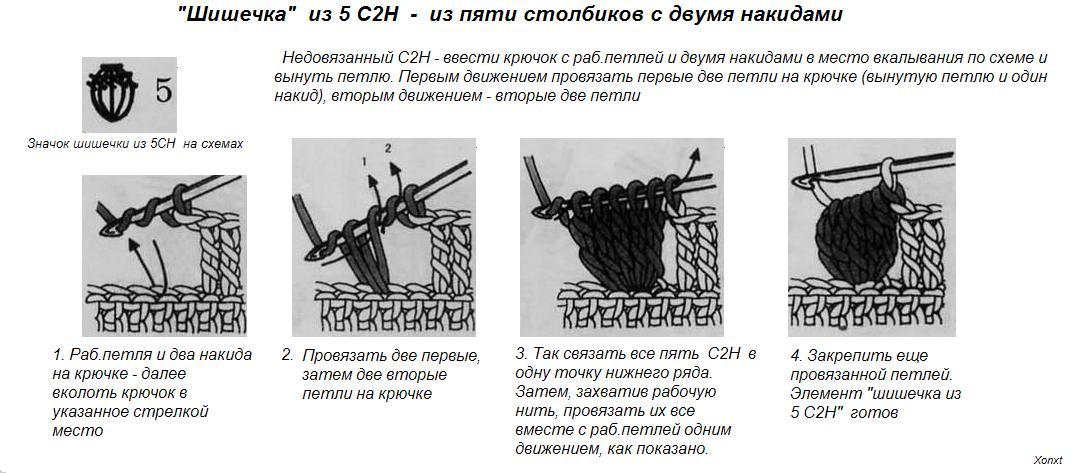 Схемы вязания крючком узора шишечки 381