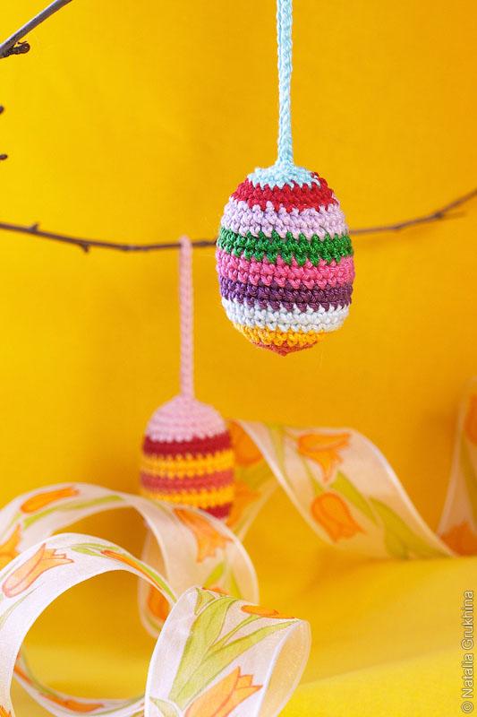 Вязаные пасхальные яйца подвески