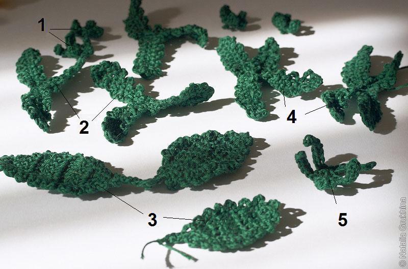Листья 2, 4 и 5 насаживаются на стебель цветка и используются во внутренней...  Чашечки 1 вяжем по схеме 3...