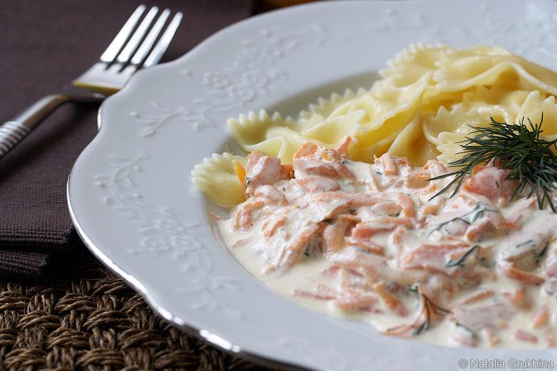 паста с лососем в сливочном соусе рецепт с фото