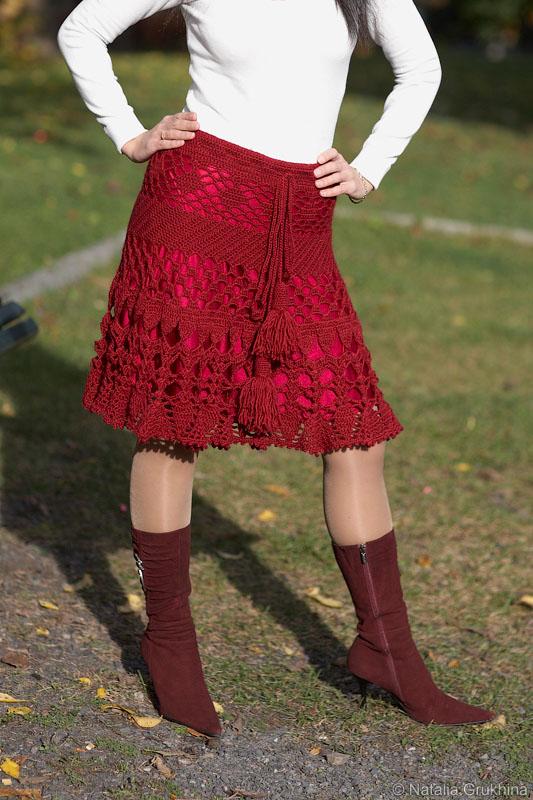 Как сделать подклад на вязаную юбку