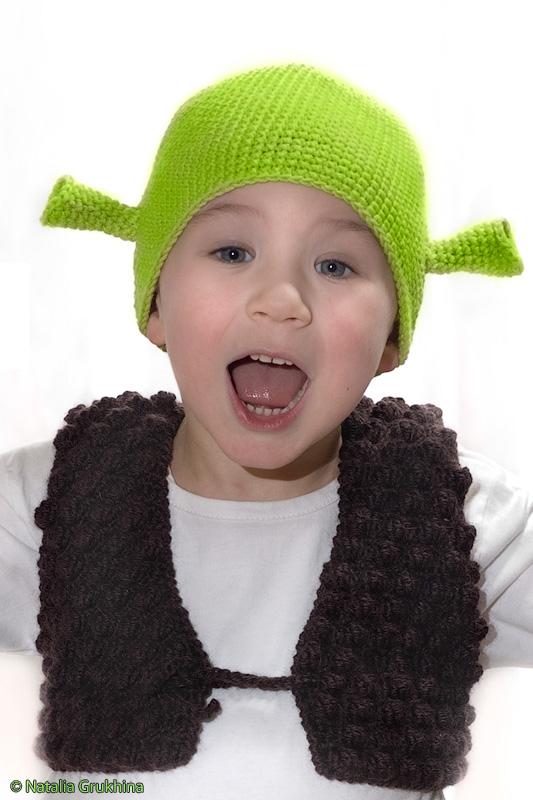 Вязаная шапка Шрека