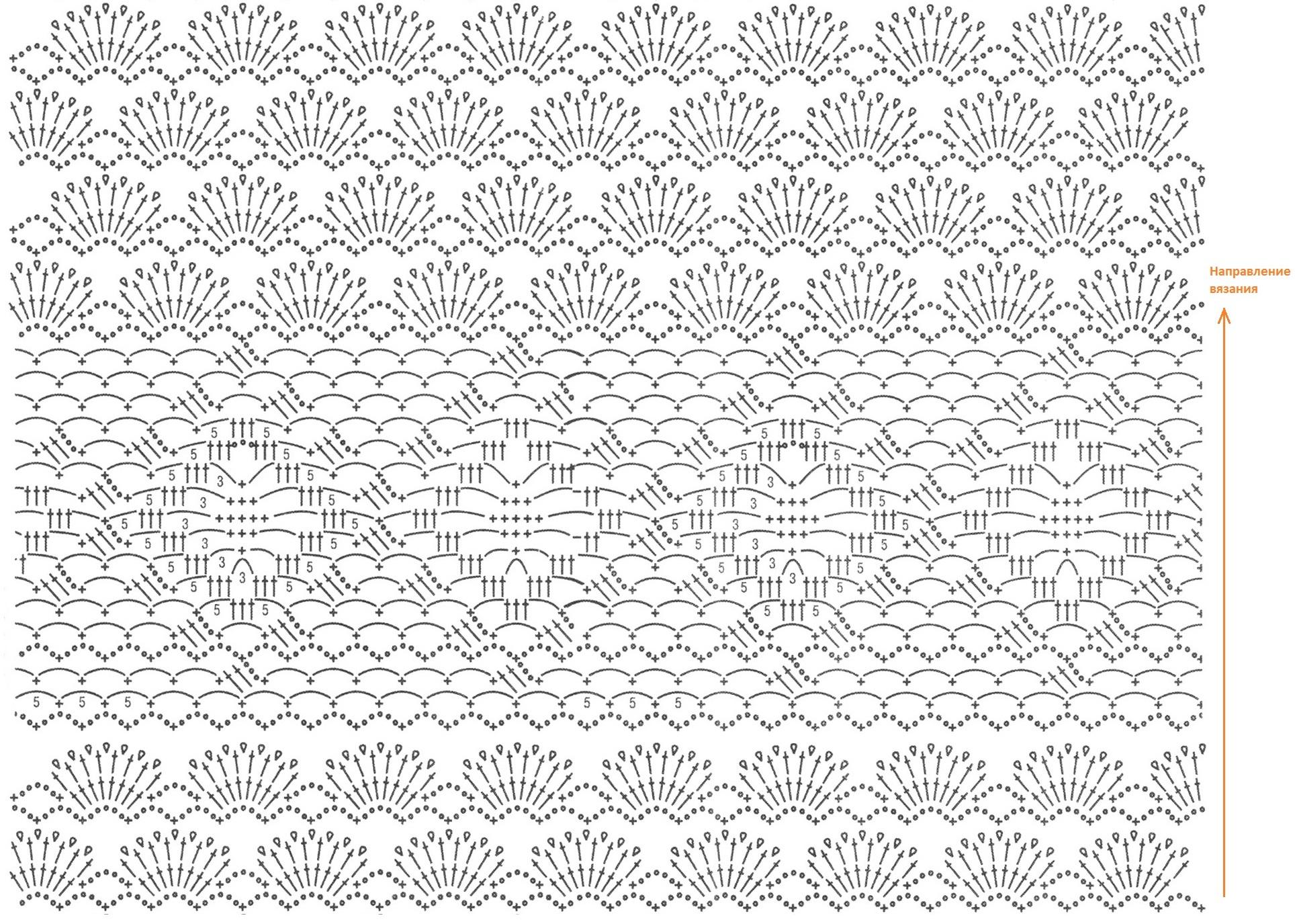 Схема вязания нижней части топика Направьте внимание, что горизонтальный раппорт 1-го узора &quote;Ромб&quote; равен...