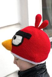 Детская шапка Angry birds крючком