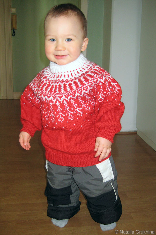 Жаккардовый свитер с круглой кокеткой (вязание спицами) .