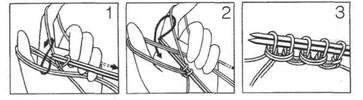1. Набрать синей нитью 32 петли крестообразным способом (рисунок 1) и провязать 19 рядов резинкой 1x1.