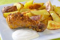 Куриные ножки в чипсах с запеченным картофелем