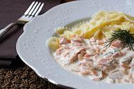 Паста с копченым лососем в сливочном соусе